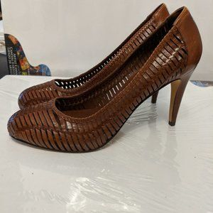 Cole Haan brown leather woven leather heel 6.5